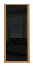 Shaker Sliding Wardrobe Door- OAK FRAME- BLACK GLASS SINGLE PANEL